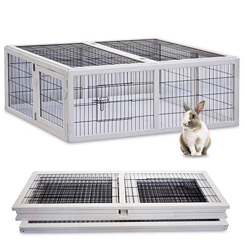 zooprinz Freilaufgehege Rabbit Run 2020 für draußen - ideal für Kleintiere - Besonders Stabiler und großer Holzrahmen - Mobiler Freilauf mit umweltfreundlicher Farbe lasiert