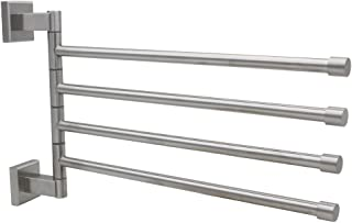 XVL SUS 304 Stainless Steel Swing Out Towel Bar 4-Bar Folding Arm Swivel Hanger Bathroom Storage Organizer Wall Mount Brushed G212