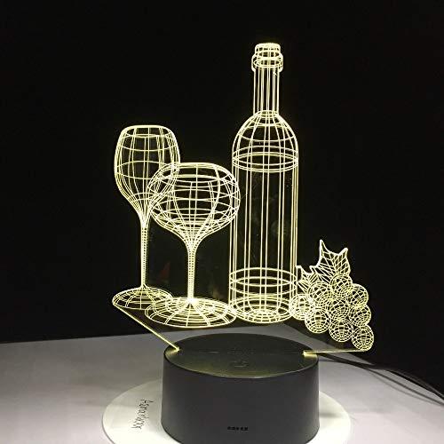 Botella de Vidrio de Vino Pomelo ilusión óptica lámpara de Mesa Estado de ánimo luz táctil Control Remoto Tipo de Color lámpara para el hogar decoración del Partido