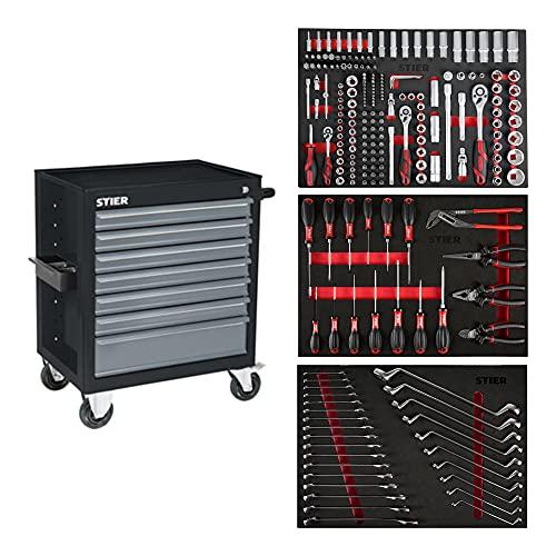 STIER Werkstattwagen Black | bestückt 223-teilig | Werkzeuge in Weichschaumeinlage (EVA) |...