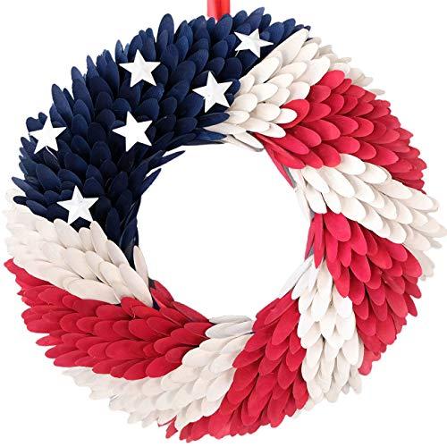 idyllic July 4th Wreath Americana Patriotic Wreath Handcrafted Memorial Day Wreath Festival Garland Decoration Front Door Wall Home Decor