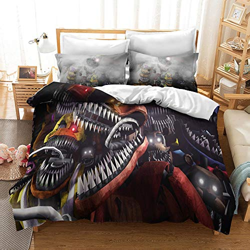 JSYJ Five Nights At Freddy's 2/3 Piece Full Size Bedding Set - Includes 1pc Duvet Cover Set And 1/2 Pillow Case, 100% Polyester Microfiber (Size : EU 240 * 220cm)