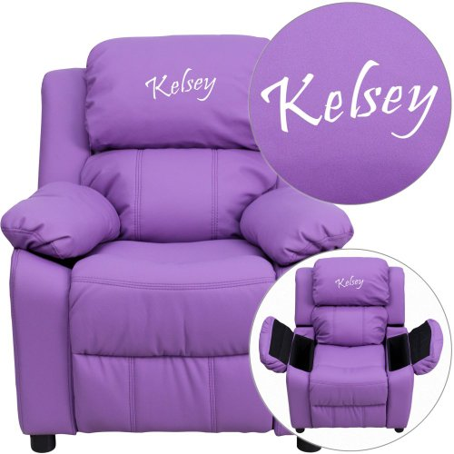 Flash Furniture Personalized Deluxe Kid's Recliner Upholstery: Lavender Vinyl