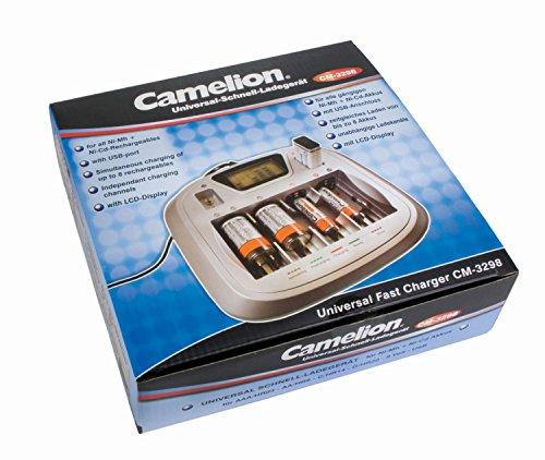 Camelion 20003298 Universal Schnell Ladegerät (NiMH Akkus AA, Mignon, AAA, Baby (C), Mono (D), 9-Volt Block olt Block, geeignet für NiCD)