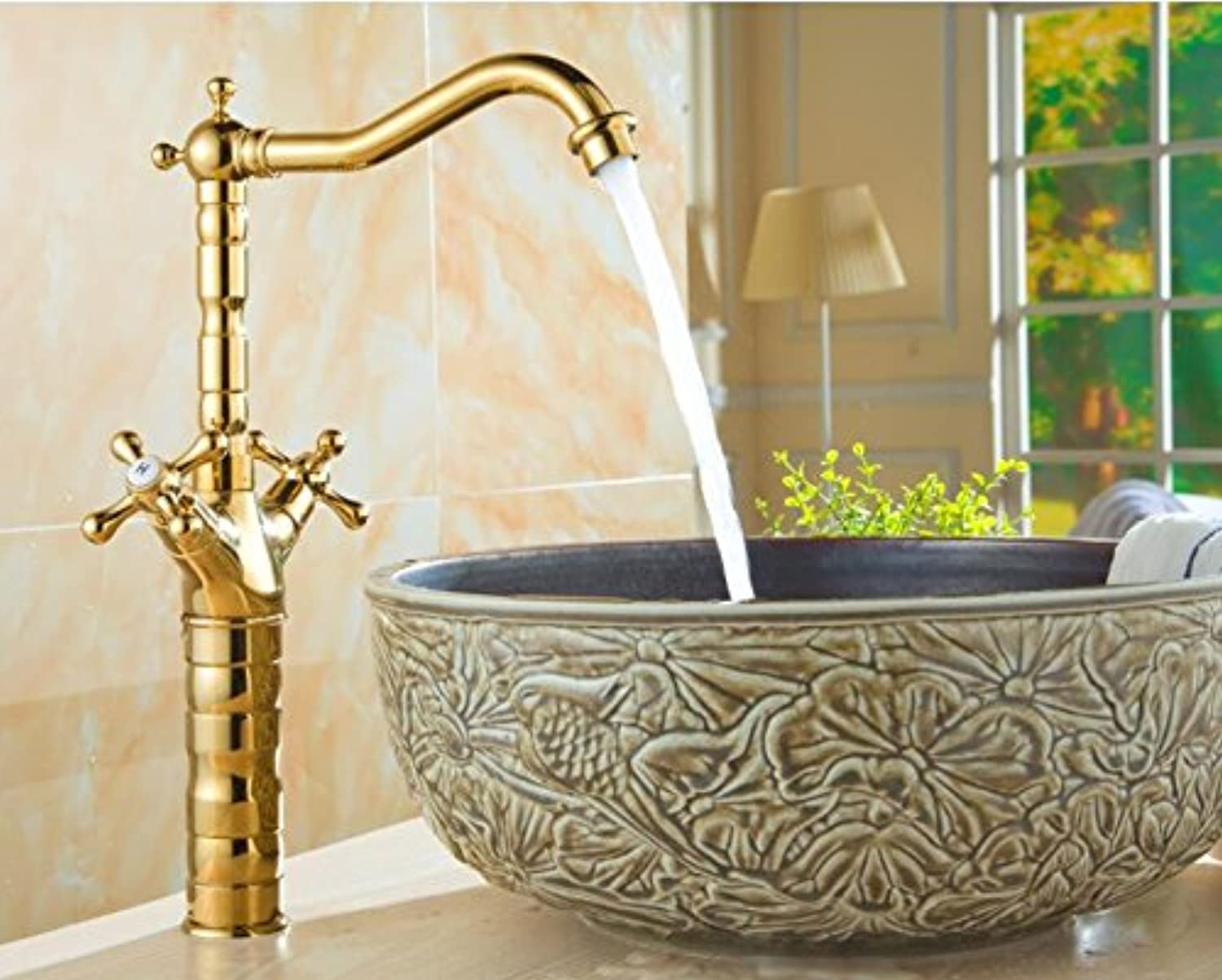 Makej Cold and Hot Water Kitchen Faucet golden Deck Mounted Faucet Dual Handle Sink Mixer Washbasin Tap A