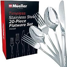 Mueller Flatware Set, 20-Piece Stainless Steel Silverware Set - Cutlery Set Service for 4 - Spoon, Knife, Fork, Salad Fork, Teaspoon - Dishwasher Safe