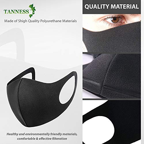 Tanness 6x Anti Dust Cover Face Mouth Mask, Fashion Reusable Washable Outdoor Unisex – Black