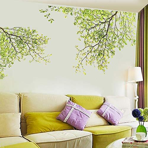 Wandaufkleber Wohnzimmer Tv Hintergrund Wandaufkleber Green Tree Branch Frische Stil Kleben Poster 60 * 90 Cm Wandaufkleber Natürliche Blatt