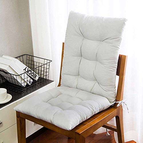 ZPPZ Set di 2 Cuscini per Sdraio,Set Cuscino per Sedia a Dondolo Cuscino per Sedile Spesso Cuscino per Sedia in Rattan Cuscino per Divano Cuscino per Sedia da Giardino Schienale e Fondo White