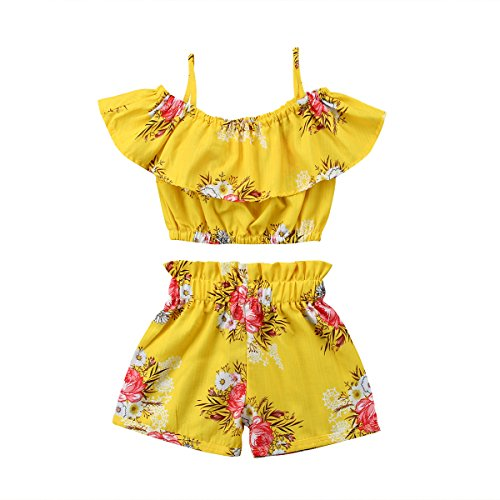 Toddler Kids Baby Girl Floral Halter Ruffled Outfits Clothes Tops+Shorts 2PCS Set (3-4 Years,Yellow)