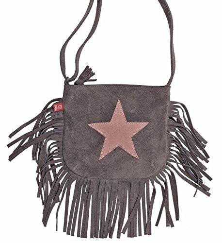 Anna und Paul Mädchen Tasche mit Stern Fransen Grau - Accessoire zu Stella Grau Wildleder - 4008
