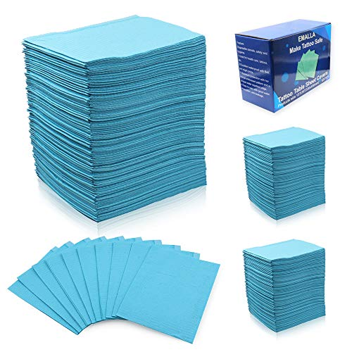 Dental Bibs - BoChang 125 Pcs Lap Cloths Blue Disposable Waterproof Tattoo Bibs,Tattoo Table Covers Clean Pad/Patient Bibs for Tattoo Supplies, 2-Ply Tissue + Poly, 13
