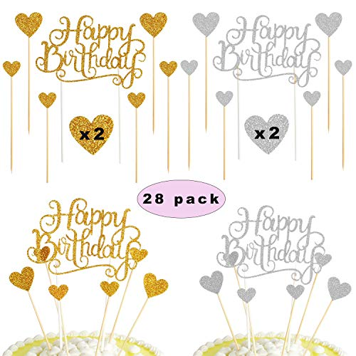 Sunshine smile Happy Birthday Cake Torte Topper,Glitter Geburtstag Kuchen Topper,Happy Birthday tortenstecker,Glitzer Cupcake Topper für Geburtstagsfeier Dekoration (28 Stück)