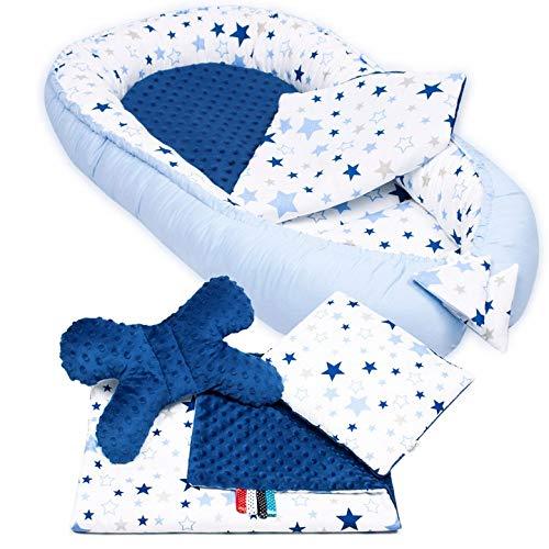 5-tlg. PALULLI Baby Ausstattung-Set, Kuschelnest, Babynest 95x55cm, herausnehmbarer Baby-Matratze, Kuscheldecke, Flachkissen, Nackenkissen, 100% Baumwolle OEKO TEX (MilkyWay MINKY)