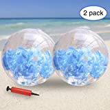 KOMIWOO Inflatable Beach Ball-Glitter Beach Balls Kids, Filled with Feathers Pool Toys for Summer Party Favors (2packs,24 inch) (Blue)
