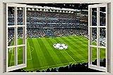 3D Vinilo Calcomanías Estadio Bernabeu Real Madrid DIY Vinilo Pared Calcomanías Sala Extraíbles Dormitorio habitación Decoración 60x90 cm / 23.6x35.4 pulgadas.