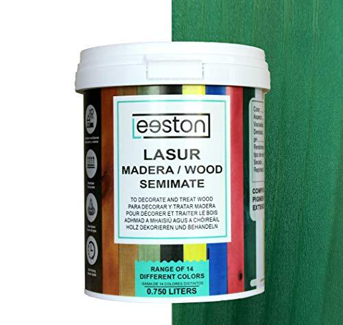 Pintura lasur para maderas, tratamiento para exterior e interior, fácil aplicación y limpieza gracias a su base al agua, acción protectora a largo tiempo, 14 colores (0,75 L, Verde)