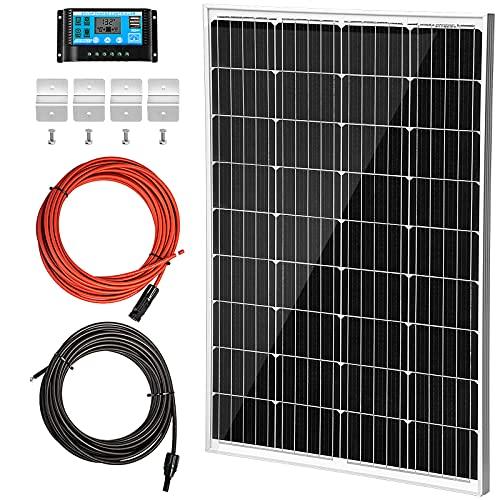 VEVOR Solarpanel Kit 18V 6,67A Solarmodul 120W Max. 1000V DC Solaranlage mit 36 Monozellen Solar Komplett Set 113x67x3,5cm ideal für Wohnwagen Wohnmobil Golfwagen Elektroauto Boot Jacht Zelt etc.