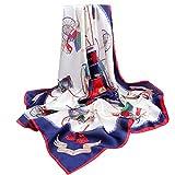 90Cm Seda Gran Bufanda Romántica De Lujo Estampado Bufanda De Seda Mujer 88 X 88