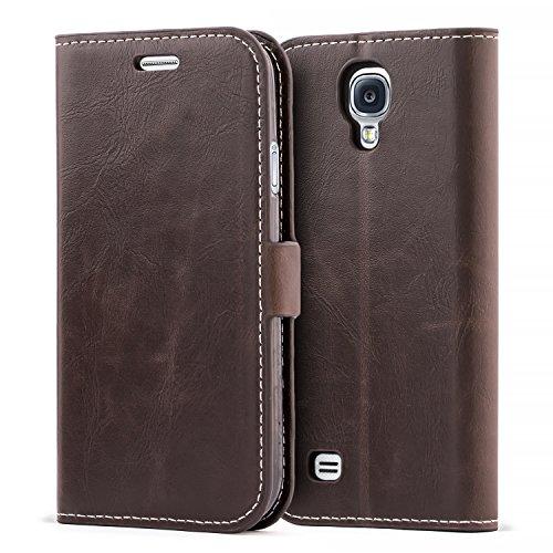 Mulbess Funda Samsung Galaxy S4 [Libro Caso Cubierta] [Bookstyle de Billetera Cuero] con Tapa Magnética Carcasa para Samsung Galaxy S4 Case, Vintage Marrón