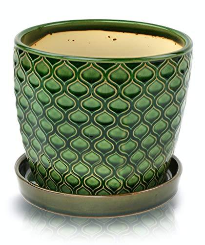 12cm Green Vintage Ceramic Indoor Plant Flower Pot