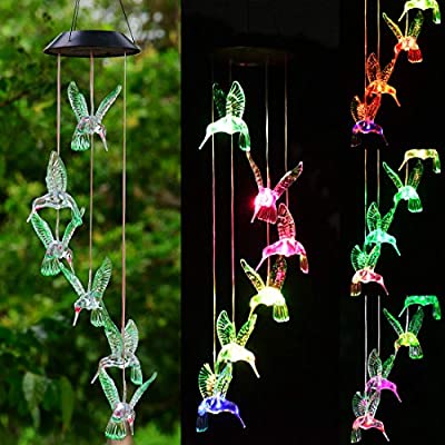Viewpick Solar Hummingbird Wind Chime, Gifts for Mom Birthday, Color Changing Christmas Lights Solar Power Mobile Night Garden Decoration Memorial Wind Chimes, Presents for Mom Grandma Gifts