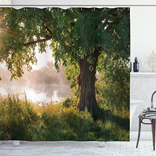 ABAKUHAUS Baum Duschvorhang, Stream Mystic Nebelige Szene, mit 12 Ringe Set Wasserdicht Stielvoll Modern Farbfest & Schimmel Resistent, 175x220 cm, Braun Grün Sand
