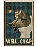 TammieLove, poster vintage con gatto per bagno e , decorazione artistica per casa, camera da letto, bar, bar, metallo, metallo, decorazione da parete, 30,5 x 40,6 cm