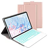 Bluetooth Backlit Keyboard Case for Samsung Galaxy Tab S7 Plus 12.4' 2020 (SM-T970/T975/T976), Jelly Comb Wireless Detachabe Keyboard Case with 7-Color Backlight and Protective Cover, Rose Gold