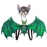Doubleer Halloween Batwing Novedad Bat Disfraz de Cosplay Incluyendo Alas Máscara y Gafas para Niños Adultos Fiesta de Cosplay Disfraces Disfraces Kit de Suministros