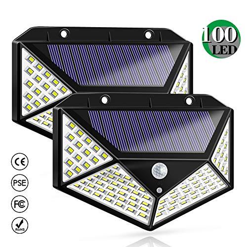 Zonne-verlichting Buiten, Zonne-energie Bewegingssensor Beveiligingsverlichting 100 LED's Waterdichte buitenwandlamp Draadloze lampen met 3 standen met 270 ° groothoek voor tuin, tuin, dakterras, hek