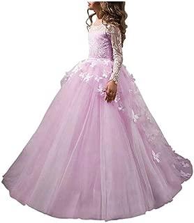 Flower Girl Dress Lace Butterflies Appliques First Communion Princess Ball Gown Wedding Dress