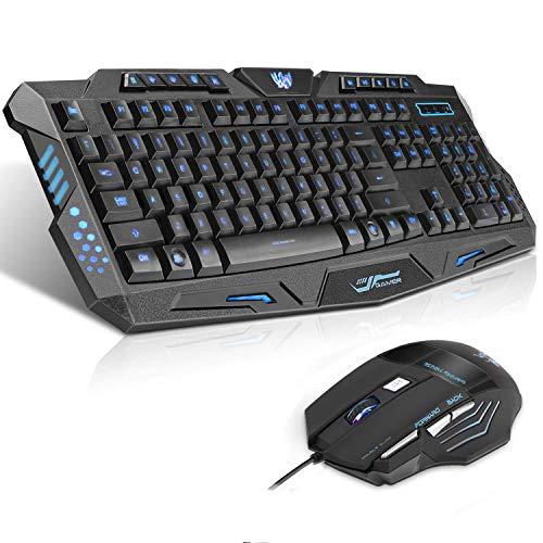Gaming Tastatur Maus Set (UK Layout) QueenDer USB Wired Tastatur mit 114 Tasten Mechanischer Handballenauflage Design und Maus mit 7 Tasten 4 DPI Einstellbare Ergonomischer für PC Mac Laptop Gamer
