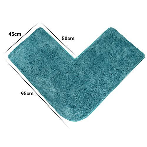 Santec Alfombra de ba/ño de pelo largo para ducha de esquina de microfibra con base antideslizante