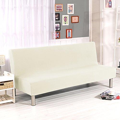Lembeauty Fundas de sofá de color sólido, sin brazos, tela elástica de poliéster y elastano, fundas protectoras para sofá cama plegables sin reposabrazos (beige)