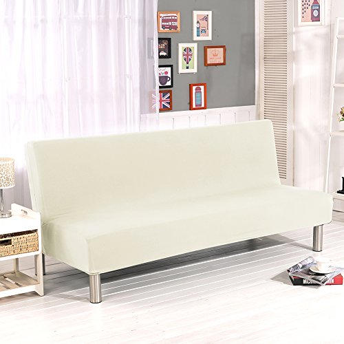 Lembeauty Sofabezug ohne Armlehnen, einfarbig, Polyester, Spandex, Stretch-Stoff, Schonbezug für Sitzer, Couchschoner, passend für faltbares Sofa oder Bett ohne Armlehnen beige