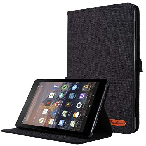 XHEVAT Tablet PC Cases For Amazon Fire HD 8 (2020) Horizontal Flip TPU + Fabric PU Leather Protective Case with Card Slots & Holder (Color : Black)