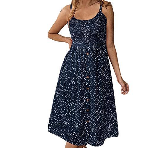 iHENGH Damen Sommer Rock Lässig Mode Kleider Bequem Frauen Röcke Frühling und Sommer Mode lässig Print Polka Dot gekräuselten Kleid mit Knöpfen(Blau, M)