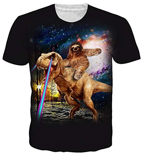Goodstoworld Good Dinosaur T Shirts for Men Women 3D Print Summer Cool Casual Short Sleeve Sloth Tshirt Tee Tops Medium