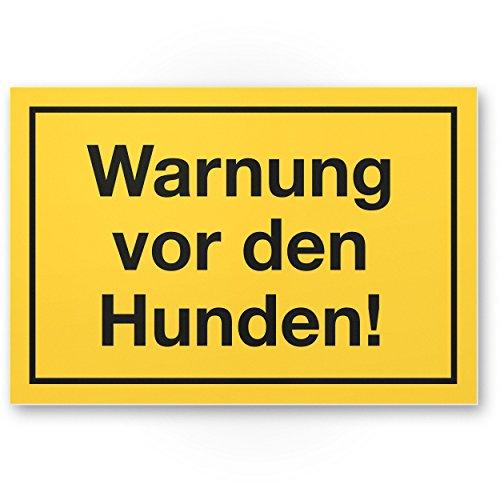 Warnung vor Hunden (gelb) - Hunde Kunststoff Schild, Hinweisschild Gartentor/Gartenzaun - Türschild Haustüre, Warnschild Abschreckung/Einbruchschutz - Achtung/Vorsicht Hund