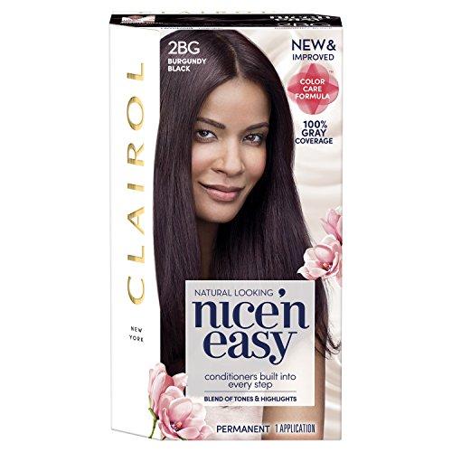 Clairol Nice'n Easy Permanent Hair Color, 2BG Burgundy Black, 1 Count