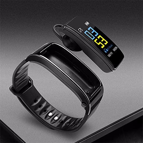 JUSHINI Reloj inteligente Y3 Plus de 0,96 pulgadas, pulsera inteligente 2 en 1, con auriculares Blueteeth, monitor de sueño, rastreador de pasos, pulsera deportiva para hombre y mujer