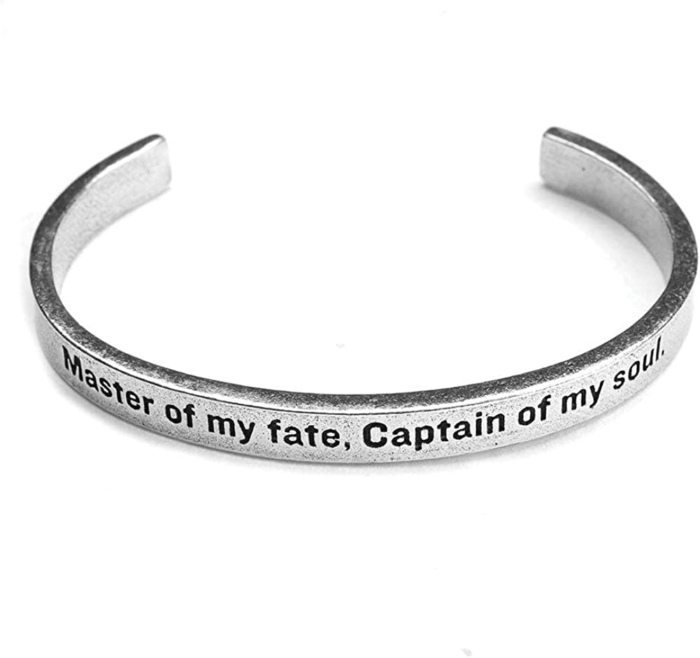 FLORIANA Women's Note to Self Inspirational Lead-Free Pewter Cuff Bracelet - Master of My Fate