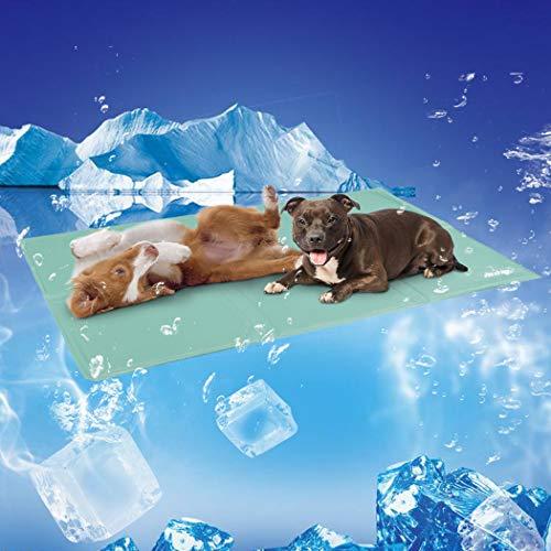 WISFORBEST Kühlmatte für Hunde bequem schlafen, kühlmatte Kühlpad für Hunde und Katzen, Haustier Selbstkühlende Kühldecke Ungiftig Gel Matte im Heißen Sommer, Grün, M/L/XL(XL: 110x70cm)