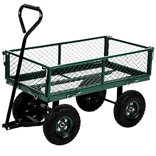 lawn carts Hudada Garden Cart Heavy Duty Steel Utility Cart Yard Dump Wagon Cart Lawn Outdoor Utility Cart with Removable Sides and 10 Inch Wheels, Green