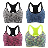 Srizgo Sports Bra Pack of 4 Padded Seamless Bras High Impact Push Up for Yoga Fitness Exercise (Grey Blue Red Yellow) (S Fit for 32AB, 34A)