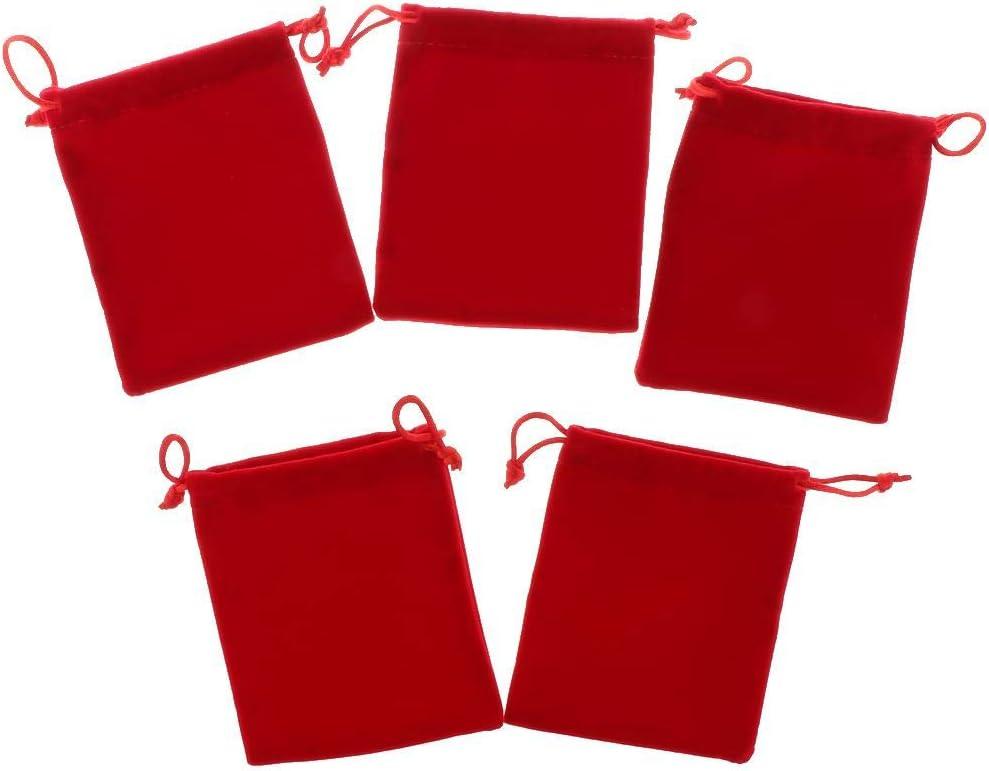 10 x 12cm B Blesiya 5pcs Noir Lisse Velours Pochette Sac De Bijoux Paquet Sac De F/ête De Mariage rouge