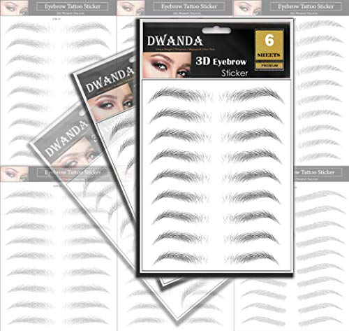 6 Sheets Premium Dwanda 3D Realistic Long Lasting Eyebrow Transfers, Realistic Looking Natural Eyebrows, Waterproof Eyebrow Tattoo stickers for Woman Makeup, Black, 54-Pairs of Brows