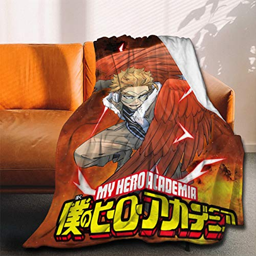My Hero Academia Collage Comics Manga Anime BNHA Takami Keigo Hawks Flannel Throw Blanket Ultra Soft Bedspread Microfiber Fleece Blanket Durable Home Decor Perfect for Couch Sofa Outdoor L 80X60IN