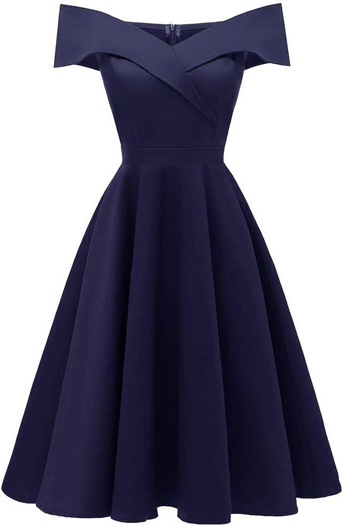 Lulupi Vintage Kleid Damen 1950er Elegant Cocktailkleid Brautjungfernkleider Fur Hochzeit Kurzes A Linie Abendkleider Amazon De Bekleidung